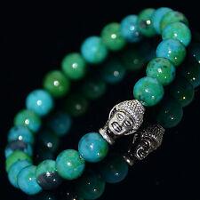 Men's Chrysocolla Silver Plated Buddha Head Yoga Energy Beaded Bracelet LS-03