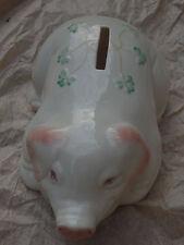 Belleek Irish Pottery Piggy Bank With Shamrocks China NIB! Never Displayed!