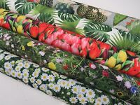 DIGITAL Designer Cactus Palm Tree Leaves Green Cotton Curtain Fabric Upholstery