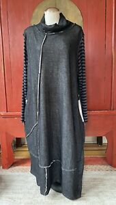 ALEMBIKA Dress, Lagenlook Art to Wear, Raw Edge, Made Israel, Size 10-12US