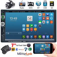 7''HD Double Din Car Bluetooth MP5 GPS Navigation DVR with Camera FM Transmitter