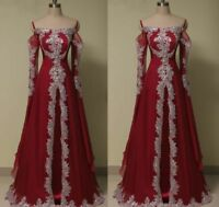 Muslim Formal Wedding Party Prom Evening Prom Dress Gown Arabic Long Sleeve Bead