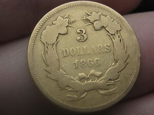 1866 $3 Gold Indian Princess Three Dollar Coin- Extremely Rare! 4000 Mintage