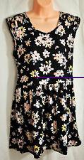 junior's  Xhilaration dress size M/M black floral print sleeveless polyester