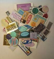 Lot of 145 Fabric Labels for cards scrapbooking mixed media