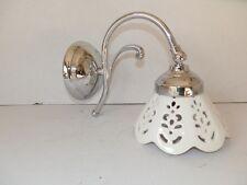 Applique in ottone lucido cromato acciaio argento con vetro 1 luce
