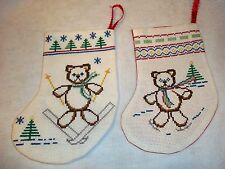 """Lot of 2 Teddy Bear Counted Cross Stitch Small Christmas Stocking Approx. 8"""""""