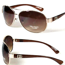 Mens Womens Fashion Designer Pilot Sunglasses Shades Wrap Round Retro Brown Gold
