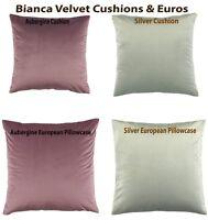 Bianca Vivid Velvet Cushion & European Pillowcase in Aubergine & Silver Colour