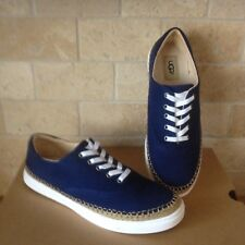 UGG EYAN II BLUE STRIPE CANVAS LACE-UP SNEAKERS BOAT SHOES SIZE US 7 WOMENS