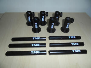 "6 x TMC Anodized Aluminium Stage stands with locking nuts, with 6 x 4"" inserts."