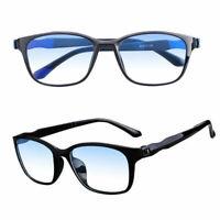 Men Women Square Frame Multi Focus Progressive Reading Glasses Anti Blue Light