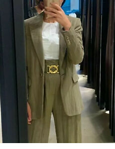 ZARA KHAKI GREEN SUIT CO ORD SUIT BLAZER JACKET AND TROUSERS Size M