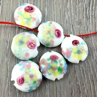 "Handmade Lampwork Glass ""Spring blossom"" 18mm 6pcs Beads(B18) Jewelry Making"