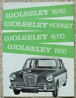 WOLSELEY CAR RANGE Sales Brochure For 1966 #H&E 6565  HORNET-1100-16/60-6/110