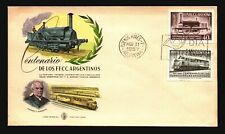 Argentina 1957 Train Centenary FDC / Painted Cachet / UA - L3348