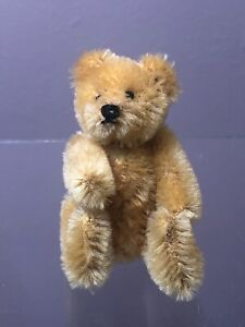 "Early Antique STEIFF 3.5"" Miniature Jointed Golden Mohair Bear Glass Eyes"