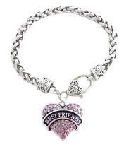 Best Friends Pink Crystal Heart Silver Lobster Claw Bracelet Jewelry Gift BFF