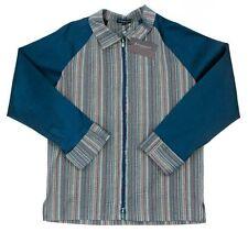 Men's ZAHAROFF Navy Seersucker Striped Cotton Silk L/S Zip-Up Camp Shirt L NWT