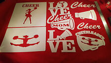 AIRBRUSH SHIRT SIZED STENCILS CHEERLEADER PACKAGE 14 INDIVIDUAL DESIGNS