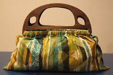 Vintage 1960's Handbag in Earthtone Cotton with Wood Handles-Vintage Bark Cloth