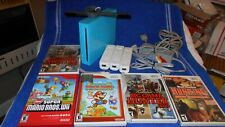 Nintendo Wii RVL-101( USA ) BLUE Console Bundle 5 Games Tested works.