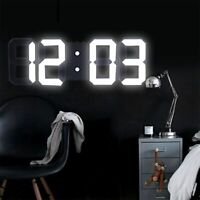 Digital LED 3D Night Wall Clock Alarm Snooze 12/24Hour Display Temperature USB