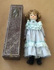 Porcelain Doll Poupee Porcelaine Girl In Blue Dress 15� original box Vintage
