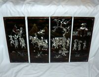 Chinese MOP Inlay Wall Decor Royalty Scene 4 Panels Black Brown Gold Lacquer