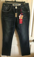 NWT Limited Too Embellished Super Special Stretch Blue Jeans Size 16 1/2