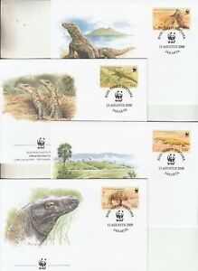 Indonesia, 2000 WWF Komodo Dragon set on 4 special First day covers SG 2620-2623