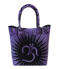 Women Girls Shopping Bags Shoulder Beach Towel Bag Purple Om Printed Handbag