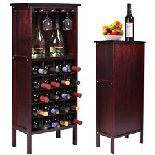 Bottle Holder Storage New Wood Wine Cabinet w/ Glass Rack Kitchen Home Bar