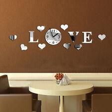Modern Home Decor Ornament 3D DIY Love Wall Clock Mirror Sticker Wall Sticker