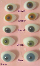1 PAIR 6 to 22mm German Glass Doll EYES OVAL Pinch Back Choose Size&Color  OV-1