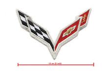 "CHEVY VETTE RACE TEAM CORVETTE RACE C-7 IRON-ON GOLD-THREADS CORVETTE 5"" PATCH"