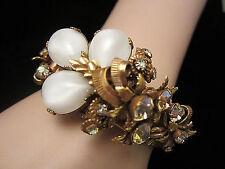 Rare Vtg Selro Goldtone Moonstone AB Rhinestone Double Hinged Clamper Bracelet