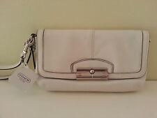 New w/Tag Coach Luxuriously Soft Leather Wristlet Mini Bag, White Rt.$118