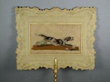 19th siècle Needlepoint dog face écran par Dobbs Londres en Relief Papier géorgien