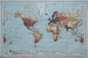 Exploration & Mapping of the World 1909 World map by John Bartholomew