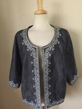 Victor Costa Occasions Embroidered Jacket Plus Size 1X Blue w/White 3/4 Sleeves