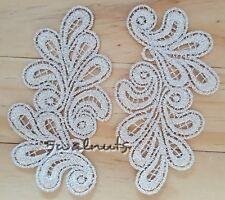 2pcs Embroidered Metallic Gold Beige Lace Flower Leaf Motif Trim Applique Patch