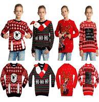Kids Children Boys Girls Xmas Christmas Winter Jumper Sweater Knitted Retro 2019