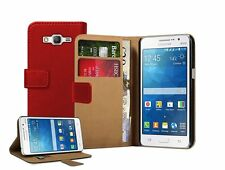 Wallet RED Leather Flip Case Cover For Samsung Galaxy Grand Prime SM-G530F