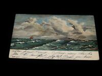 Vintage Postcard,NEW YORK,NY,Yachting On The Rough Ocean,To NYC,Postage Due,1905