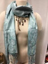 NEW Banana Republic Pashmina Floral 100% Silk Scarf Wrap Stole Ice Teal $78 NWT