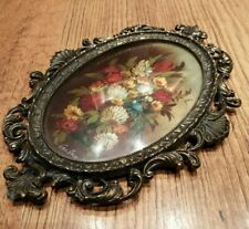 ANTIQUE 19th century MINIATURE OIL PAINTING on copper FLOWERS by VAN HOLT 1 of 2