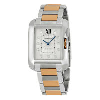 Cartier Tank Anglaise Automatic Silver Dial 18kt Pink Gold and Stainless Steel