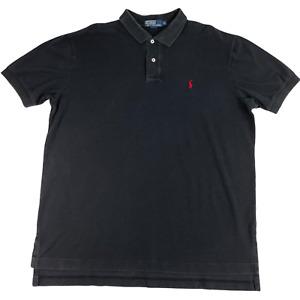 Polo Ralph Lauren Polo Shirt Solid Black Short Sleeve Men XL Cotton Logo Mesh