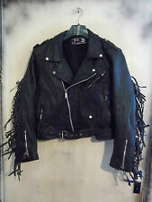 VINTAGE 70'S BLL UK MADE FRINGED LEATHER BRANDO MOTORCYCLE JACKET 44 TASSELS